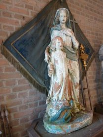 tuinbeeld terracotta -Maria kind Jesus- hoog 120 cm.
