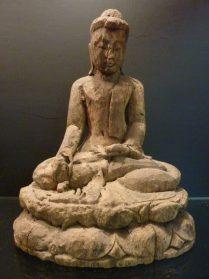 Boeddha Nyanmar hout 29 cm.