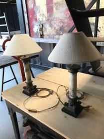 tafellamp op marmeren-bronzen altaarvoet