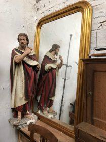 spiegel met gouden lijst 160cm.hoog