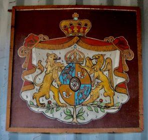 wapen koninklijk huis op plaat 90x90 cm.