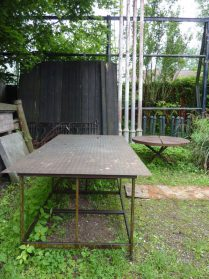 industriele ijzeren fabriekstafel (120x240)